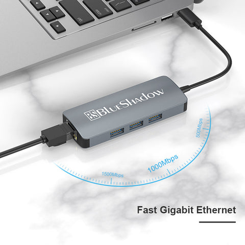 Blueshadow 4 in 1 Type C to Ethernet Adapter
