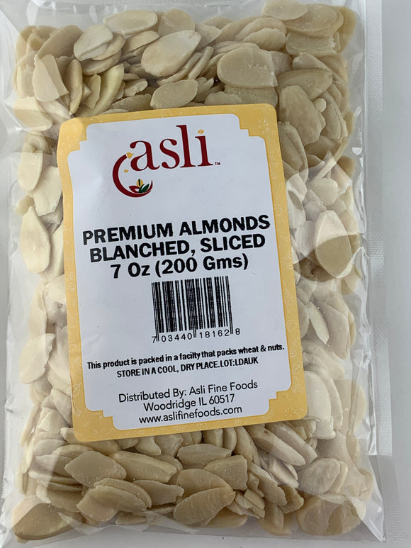 Asli Premium Almonds Blanched Sliced 7 Oz