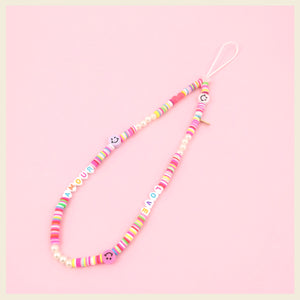 Rainbow beaded phone strap