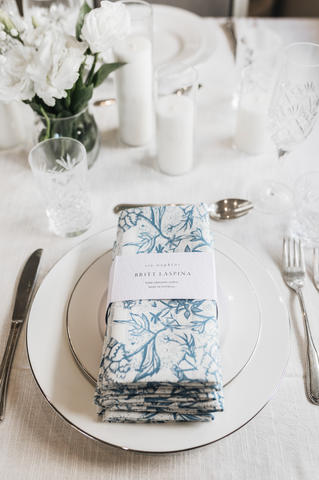 Navy Peonia Napkins - Set of 4 [On Demand]