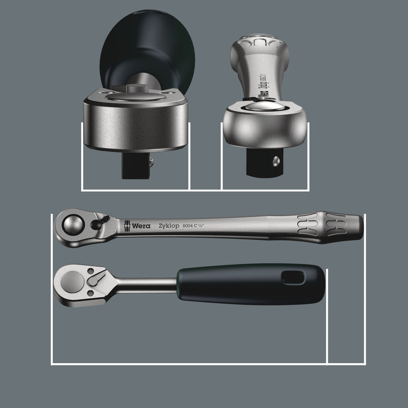 "8100 SB 8 Zyklop Metal Ratchet Set with switch lever, 3/8"" drive, metric"