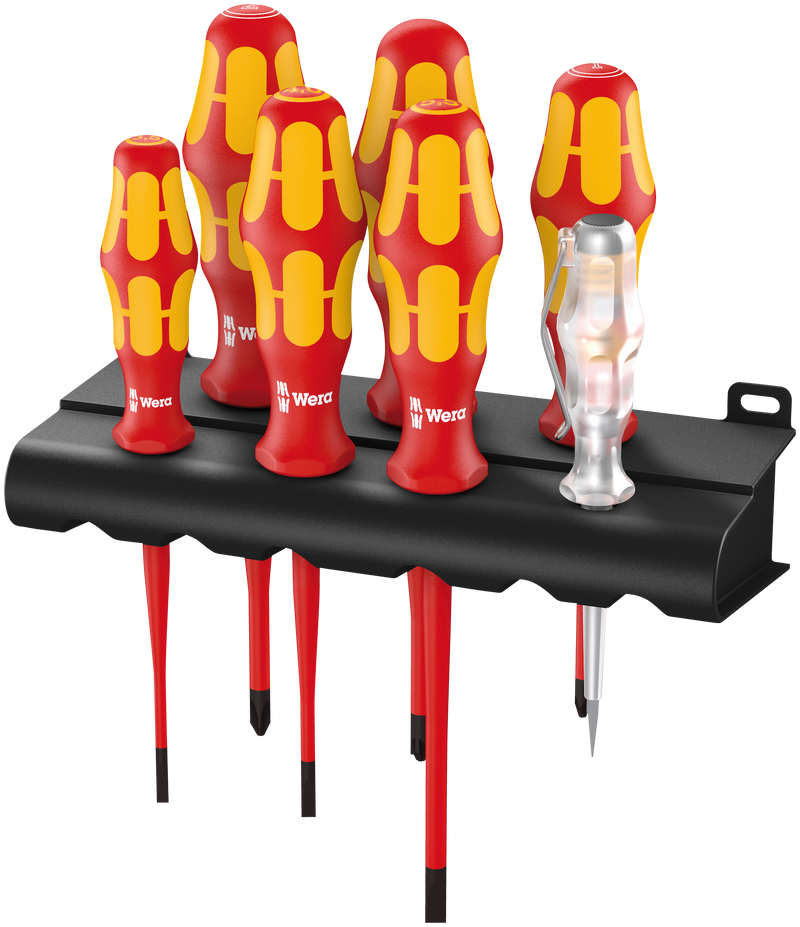 160 iS/7 Rack screwdriver set Kraftform Plus Series 100, voltage tester and rack. With reduced blade diameter