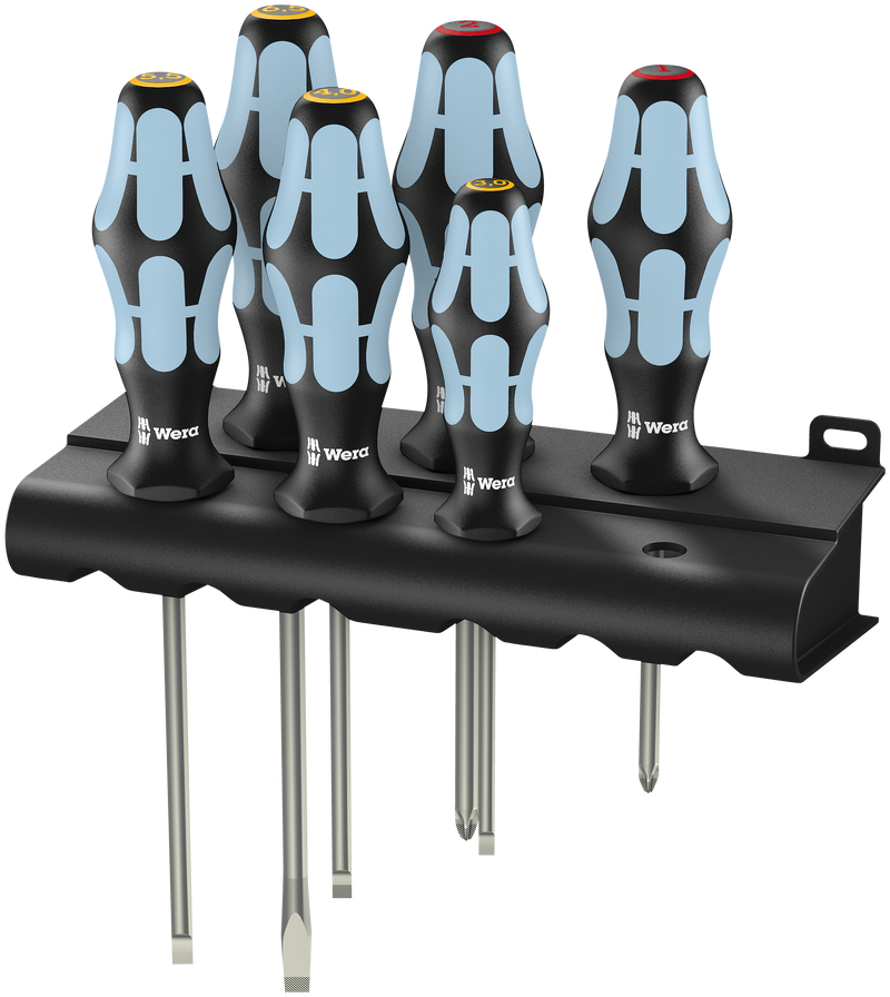 3334/6 Screwdriver set, stainless and rack