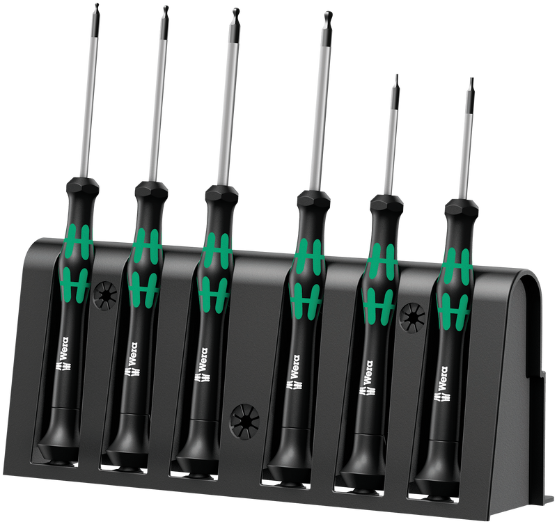 2052/6 Hexagon screwdriver set and rack for electronic applications