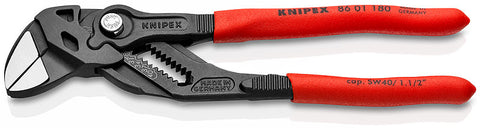KNIPEX 86 01 180 Pliers Wrench Pliers and a wrench in a single tool plastic coated black atramentized polished 180 mm