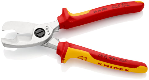 KNIPEX 95 16 200 Cable Shears, with twin cutting edge