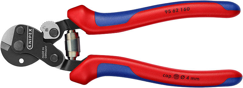 KNIPEX 95 62 160 Wire Rope Cutter also for high-strength wire rope with multi-component grips burnished 160 mm Ø 6,0