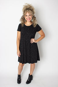 Black with white specks soft knit swing dress with pockets