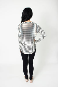 Long sleeve white and black striped soft knit shirt
