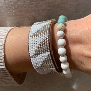 Medium Silver & White Triangle African Hand-beaded Leather Cuff worn with green jade dolomite and magnesite bracelet