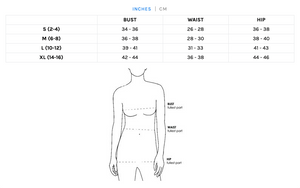 Sizing chart for ALVY's ethical fair trade clothing.