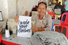 Load image into Gallery viewer, Seamstress in the fair trade workshop in Cambodia