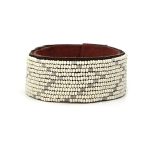 Medium Pearl and Matte White Chevron African Hand-beaded Leather Cuff