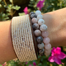 Load image into Gallery viewer, rose quartz and white magnesite beads essential oil diffuser bracelet with pink zebra jasper bracelet and African hand beaded leather cuff