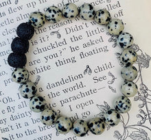 Load image into Gallery viewer, Dalmatian Jasper Stone essential oil diffuser bracelet with black lava rock beads
