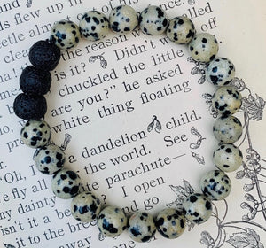 Dalmatian Jasper Stone essential oil diffuser bracelet with black lava rock beads
