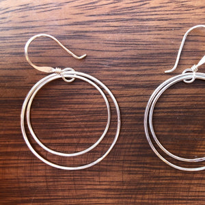 Lightweight, double circle earrings made of Alpaca silver in a fair trade cooperative near Taxco, Mexico