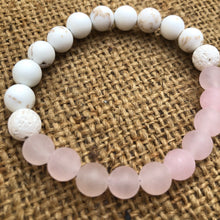 Load image into Gallery viewer,  rose quartz and white magnesite beads essential oil diffuser bracelet with two lava rocks