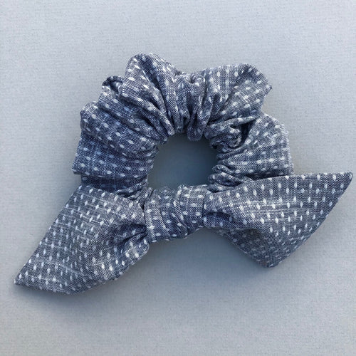 Chambray Dotted Bow Scrunchie Made in the USA