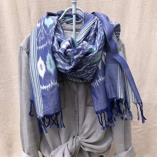 Fair trade denim blue, white, and teal genuine ikat print scarf in high quality ethical 100% cotton,