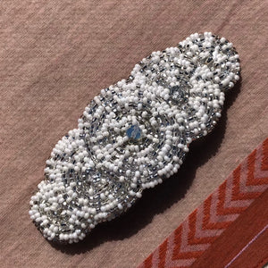 Fair trade Czech first grade glass seed bead barrette in white and silver.
