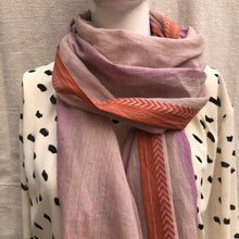 Load image into Gallery viewer, Fair trade and ethically made soft 100% cotton handloom scarf in a muted pink, with a lavender stripe, and coral chevron border.