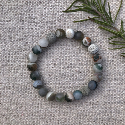 Green Tree Agate essential oil diffuser bracelet with three lava rock beads