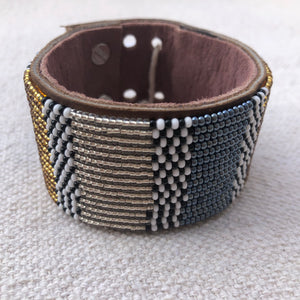 Fair Trade Large Metallic Blue & Gold & Silver African Hand-beaded Leather Cuff, view of interior suede.