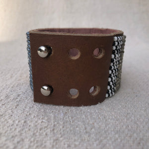 Fair Trade Large Metallic Blue & Gold & Silver African Hand-beaded Leather Cuff, view of closure