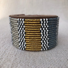 Load image into Gallery viewer, Fair Trade Large Metallic Blue & Gold & Silver African Hand-beaded Leather Cuff