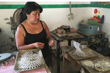 Load image into Gallery viewer, Woman silver smith artisan in fair trade cooperative in Tecapulco, near Taxco, Mexico.