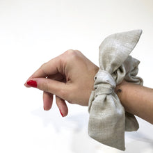 Load image into Gallery viewer, Natural Linen Bow Scrunchie Made in the USA