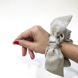Natural Linen Bow Scrunchie Made in the USA