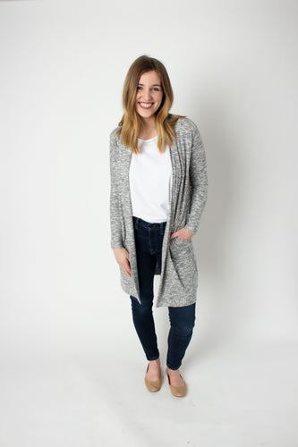 Soft knit open front long cardigan with pockets; ethical clothing, fair trade clothing.