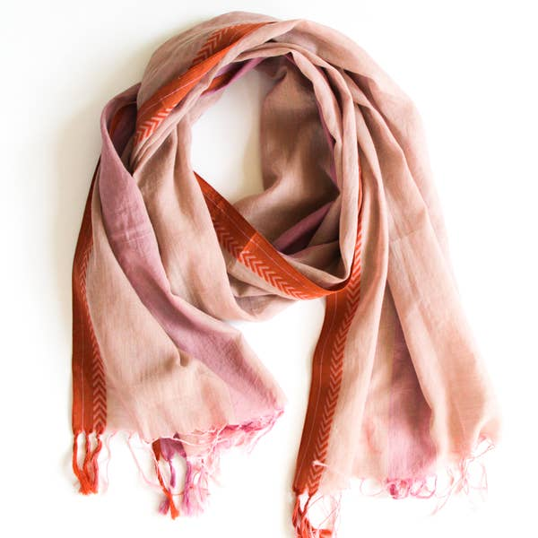 Fair trade and ethically made soft 100% cotton handloom scarf in a muted pink, with a lavender stripe, and coral chevron border.