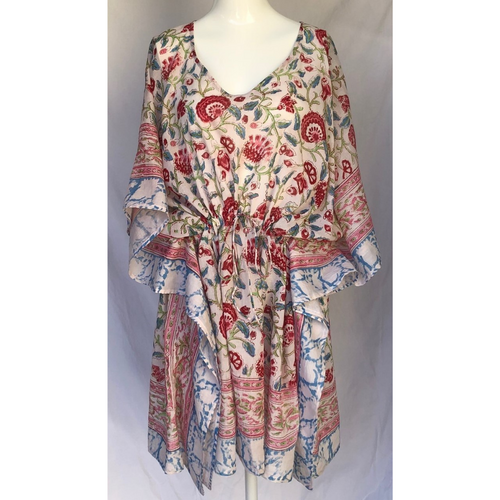 Fair trade Floral Hand Block Print Kaftan, one size with draw string.