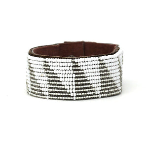 Medium Silver & White Triangle African Hand-beaded Leather Cuff