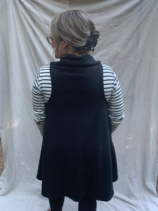 Super soft knit black circle vest with pockets fair trade ethical clothing