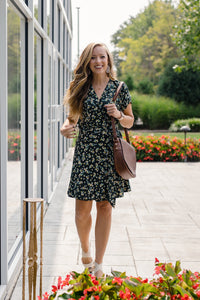 Wrap dress in a small floral print; ethical clothing, fair trade clothing.