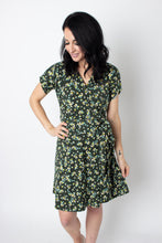 Load image into Gallery viewer, Wrap dress in a small floral print; ethical clothing, fair trade clothing.