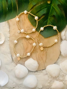 Classic Stack: Baroque Pearl Stackable Bracelets