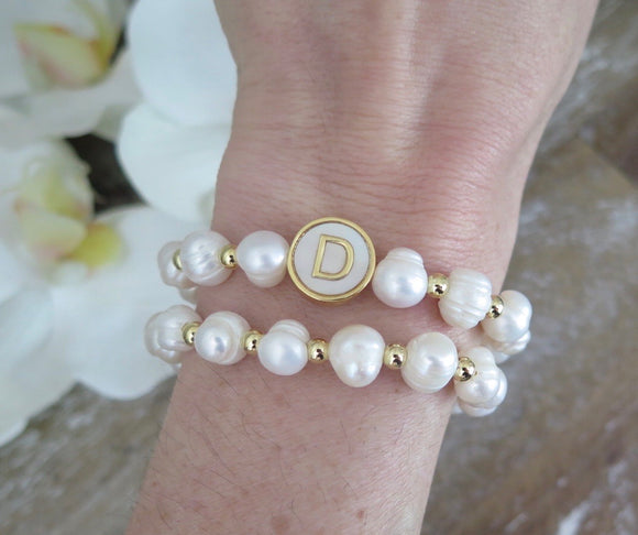 Baroque Pearl with Round Initial Pendant Stackable Bracelets
