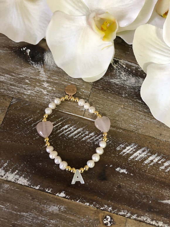 Yoyi Pearl and Rose Quartz Bracelet
