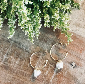 Fresh Water Pearl Gold Hoop Earrings
