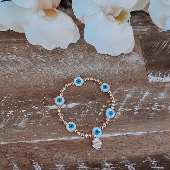 Mother of Pearl Evil Eye Stackable Bracelet