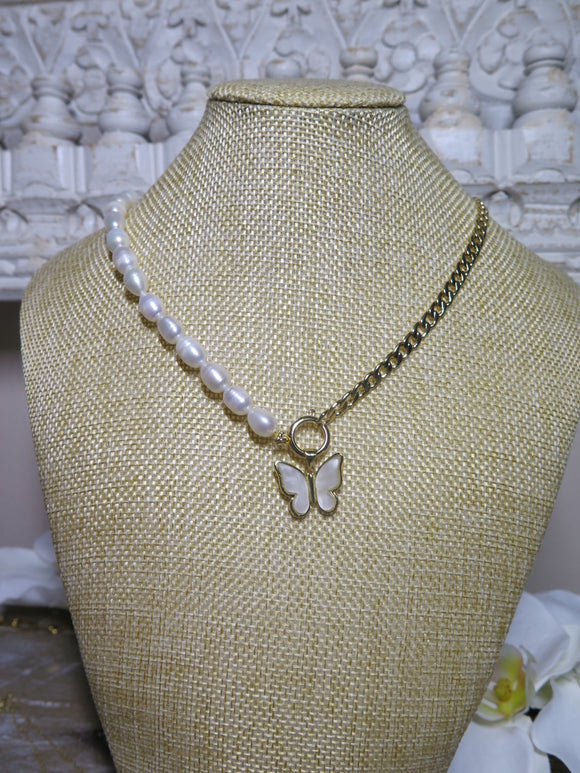 Rossi Butterly Cuban Link and Pearl Chain