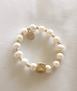 Pearl Bracelet with Block Initial