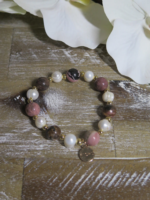 Lulu Pink and Black Stone Bracelet