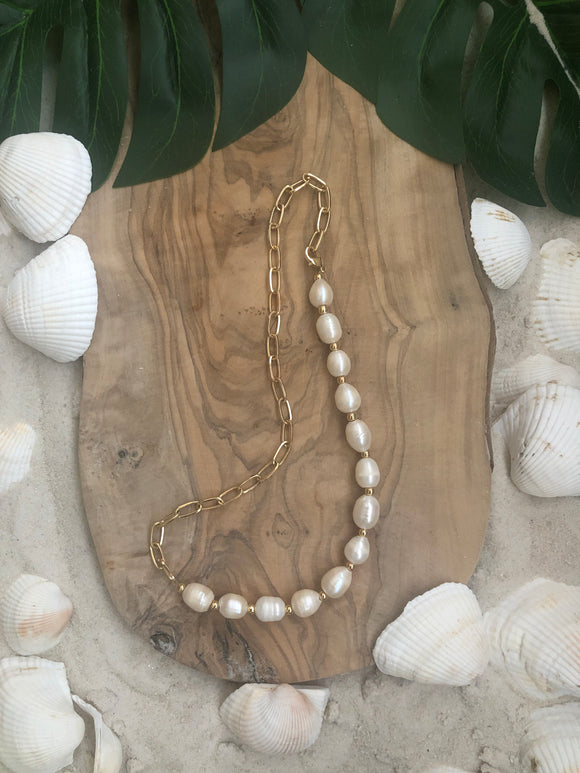Georgie Baroque Pearl Necklace with Chain
