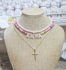 Emma Rainbow Necklace with White letters